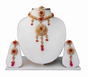 Buy Fashionable Kundan Necklace Set with Earrings and Tika-0
