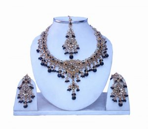 Designer Fashionable Polki Necklace Set with Earrings and Maang Tika-0