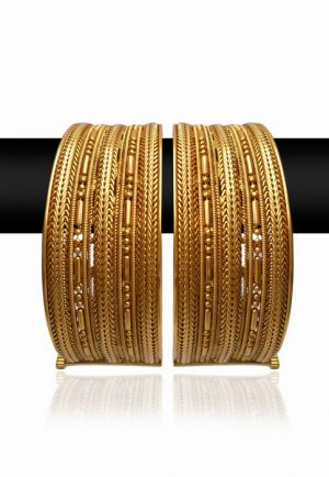 Set of Golden Bangles for Women from India with Elegant Design-0