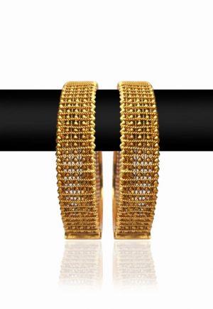 Exquisite Designer Set of Girl's Bangles with Bright Golden Polish-0