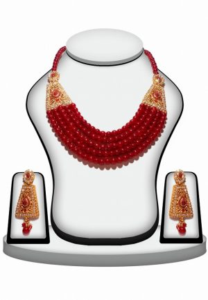 Gorgeous 5 Layer Designer Polki Necklace Set in Red and White Stones-0