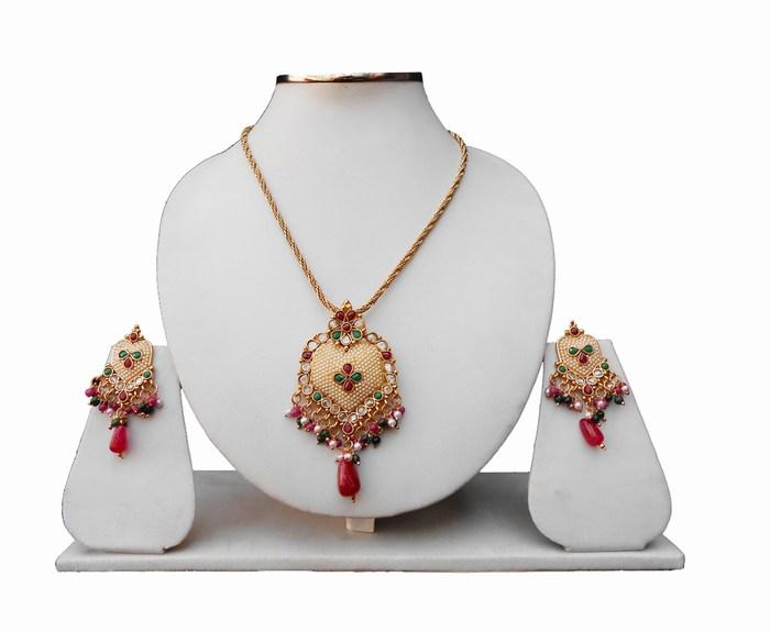 Gorgeous Polki Pendant Set With Earrings For Fashionable Women-0