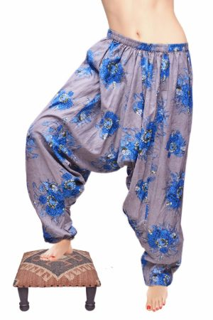 Designer Cotton Gray Long Trousers With Handmade Blue Flowery Print-0