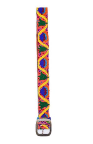 Buy Online Handmade Belts with Yellow And Blue Hand Stitched Design from India-0