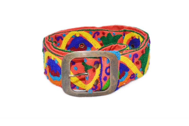 Buy Online Handmade Belts with Yellow And Blue Hand Stitched Design from India-525