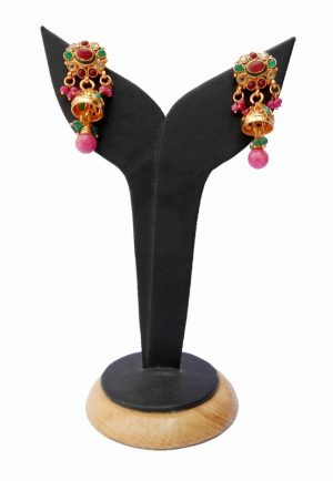 Fancy Handmade Polki Earrings from India in Red and Green Stones-0