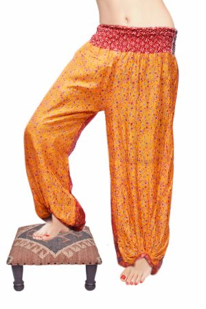 Glossy Yellow Harem Dance Hip Hop Designed with Colorful Drop Prints-0