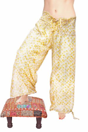 Designer White and Yellow Patchwork High Waisted Drop Crotch Pants-0