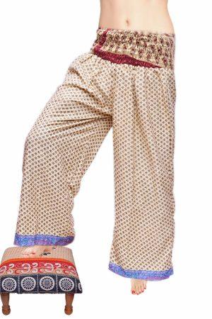 Beautiful Designer High Waisted Harem Pants with Blue Border-0