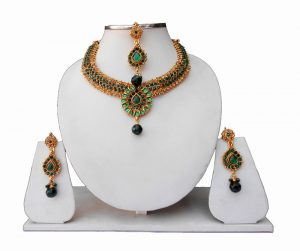 Buy Designer Indian Bridal Jewelry Set with Earrings and Maang Tika-0