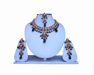 Traditional Designer Bridal Indian Kundan Necklace Set with Earrings and Tika-0