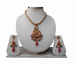Buy Online Indian Polki Pendant Set With Designer Fancy Earrings-0