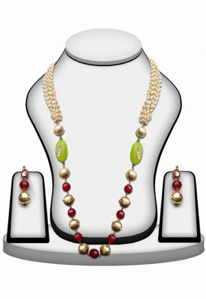 Elegant Red and White Kundan Work Beads Necklace Set With Earrings for Wedding-0