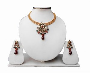 Shop Designer Stunning Kundan Pendent Set With Earrings for Girls-0