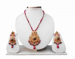 Shop Online Latest Polki Pendant Set With Beautiful Earrings-0