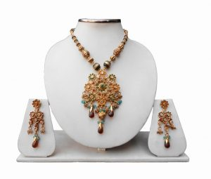 Shop Online Multi-Colored Polki Pendant Set with Earrings for Women-0