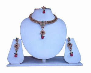 Latest Designs Necklace Set with Matching Earrings and Maang Tika-0