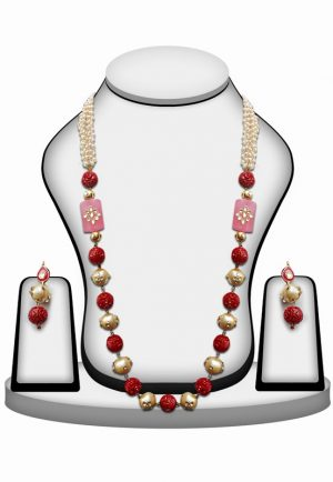 Party Wear Necklace Set with Earrings in Red, White and Pink Stones with Kundan Work-0