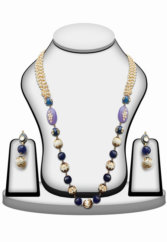 Necklace Set in Blue and White Stones and Beads with Kundan Work with Earrings-0