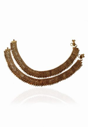 Stylish Party Wear Pearl and Golden Polish Anklets for Weddings-0