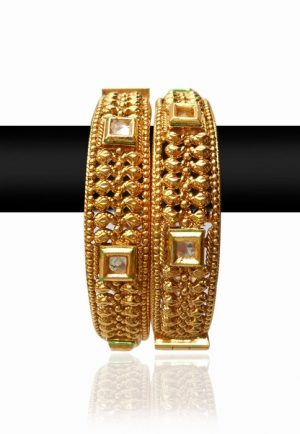Party Wear Traditional Bangles with White Stones and Golden Polish-0