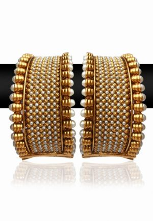 Beautiful Broad White Stones and Pearl Bangles for Women-0