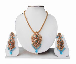 Buy Online Polki Pendant Set with Beautiful Design Earrings-0