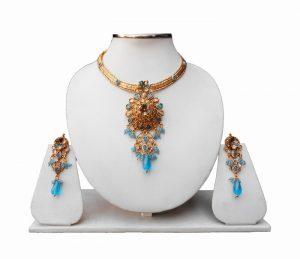 Shop Online Turquoise Stones Polki Pendant Set With Earrings-0