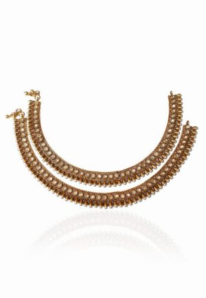 Posh Golden Anklets for Women in Pearls and White Stones from India-0