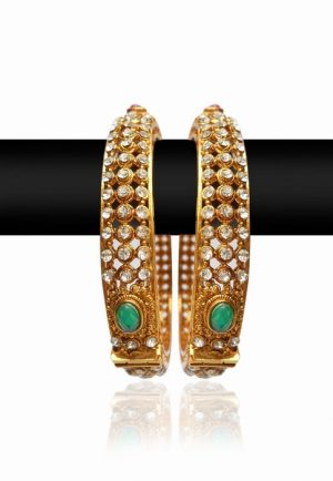 Posh Golden Bangles for Women with Red, White and Green Stones-0