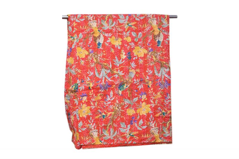 Buy Vibrant Orange Bed Covers With Stitched Nature Prints at Wholesale Prices-0