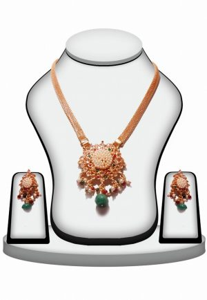 Red and Green Stone Polki Fashion Pendant Set with Earrings -0