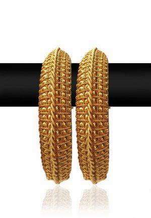 Exquisite Royal Bridal Bangles from India with Bright Golden Polish-0