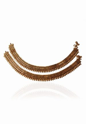 Uptown Royal Fashion Anklets for Girls in Bright Golden Polish-0