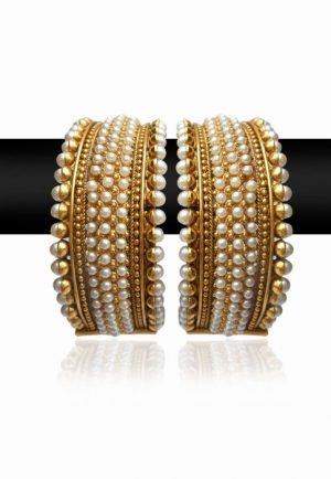 Uptown Royal Pearl Bangles for Women in Fine Gold Polish-0