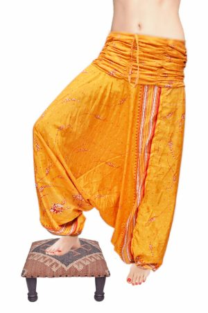 Designer Traditional Ethnic Design Silk Yellow Gypsy Pants From India-0
