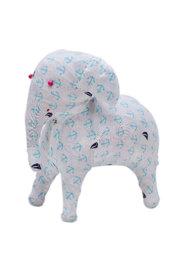 Stylish Designer Soft Stuffed Elephant in Blue Hand Prints-0