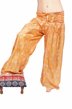 Stylish Aladdin Pants with Glossy Mustard Yellow and White Mixed Pattern-0