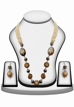 Stylish Party Wear Necklace Set with Earrings in Black and Brown Beads-0