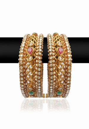 Party Wear Traditional Bangles with Red, White and Green Stones-0