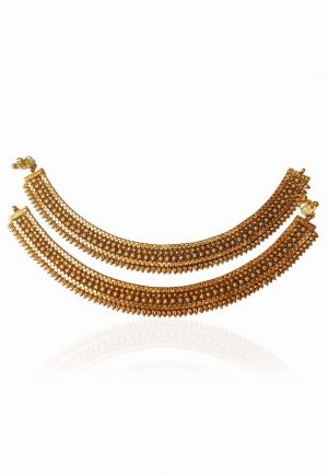 Traditional Designer Payal with Bright Golden Polish in Exclusive Design-0