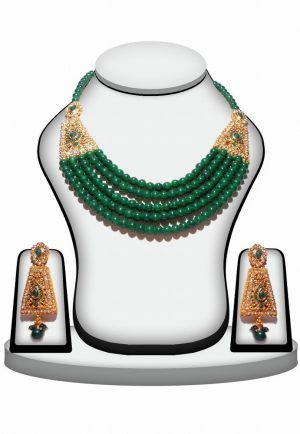 Traditional Green Color Polki Necklace Set for Women-0