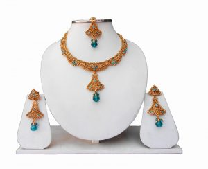 Latest Design Turquoise Fashion Necklace Set with Earrings and Tika-0