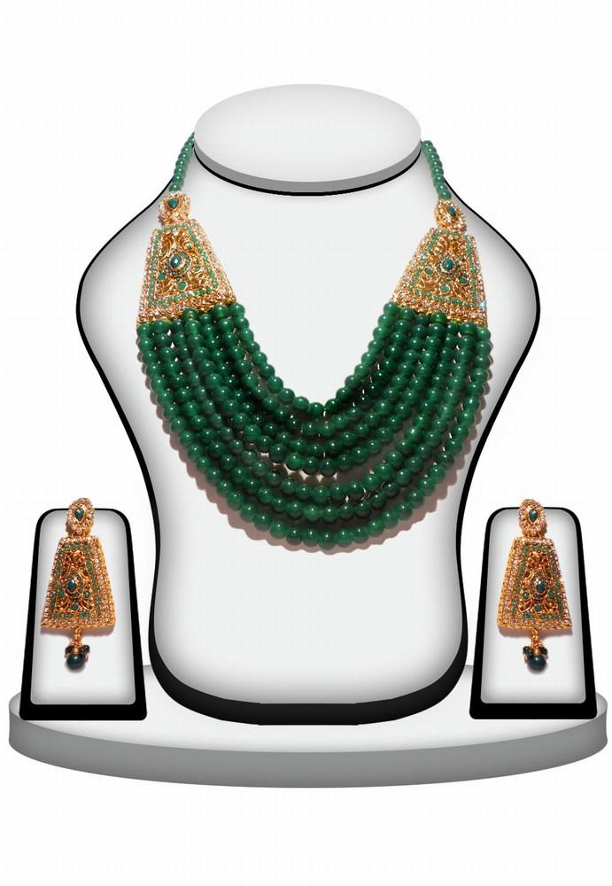 Unique Style Green Stones Polki Pendant Set with Earrings -0
