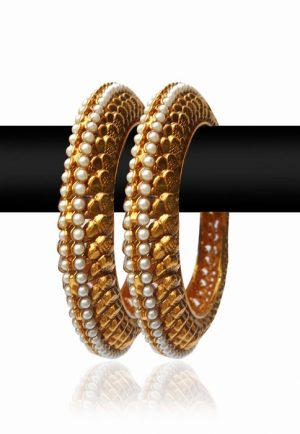Wedding Bangles with White Pearls and Stones with Golden Polish-0