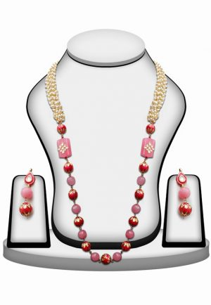 Buy Online Red and Pink Stone Wedding Necklace Set With and Earrings-0