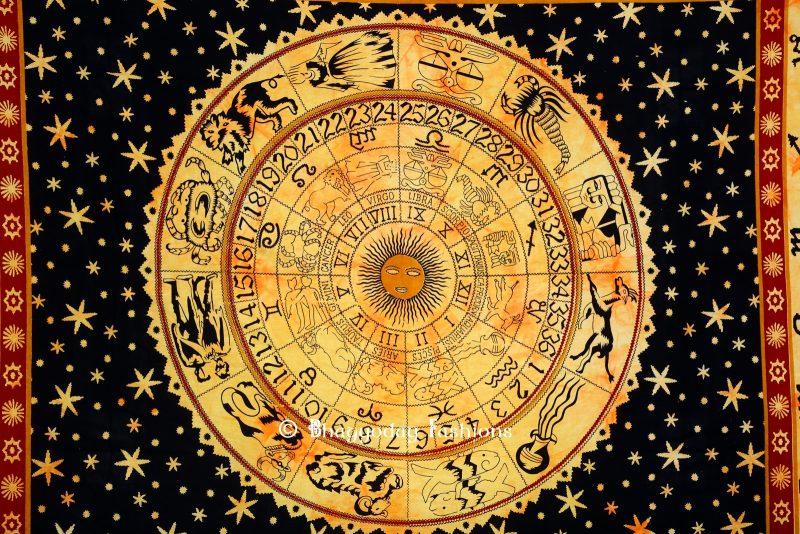 Black & Orange Astrological Tapestry Wall Hanging for Home Decor-1257