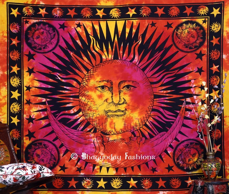 Colorful Sun and Moon Bohemian Tapestry Wall Hanging Bedding -1249