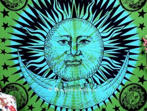 Green & Blue Celestial Sun Moon Indian Tapestry Bedding Bedspread-0