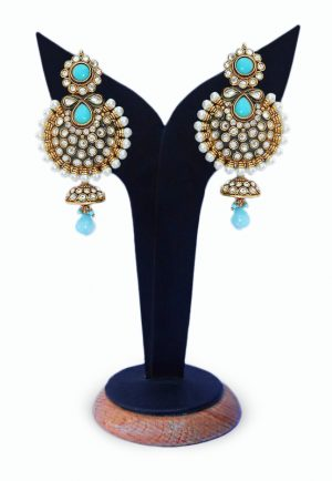 Beautiful and Classy Jhumka Earrings in Turquoise Stones for Girls-0